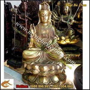 Tượng Phật Bà Quan Âm Bồ Tát Cao 25cm đồng vàng