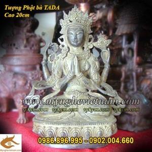 Tượng Phật Bà tứ thủ mẫu Tây Tạng 20cm bằng đồng