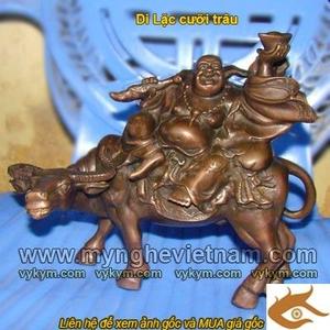 Tượng Phật Di Lặc Cưỡi trâu bằng đồng cao 25cm