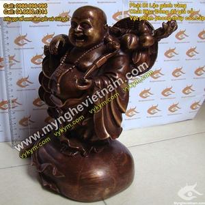 Tượng Phật Di Lạc gánh vàng 25cm bằng đồng giả cổ