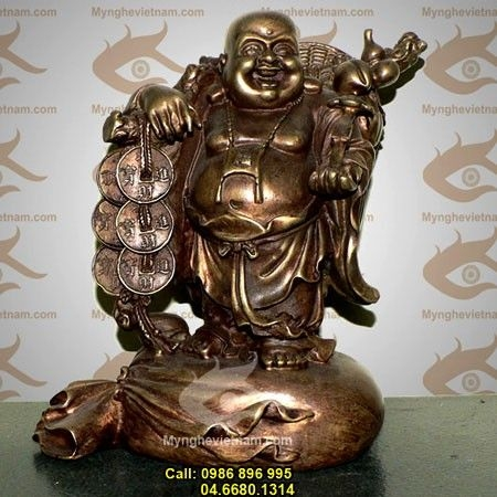 Tượng Phật Di Lạc gánh vàng,Cao 20cm giả cổ