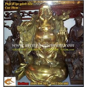Tượng Phật Di Lạc gánh vàng cao 50cm bằng đồng