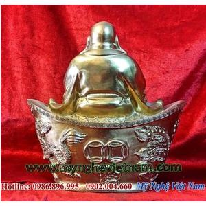 Tượng phật di lặc ngồi thỏi vàng kim nguyên bảo cao 23cm