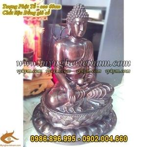 Tượng Phật Đúc Đồng, cao 60cm, tượng Phật Ngồi tọa đài sen, phật ngồi thiền