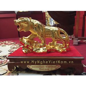 Quà tặng tượng hổ đồng 12 con giáp mạ vàng