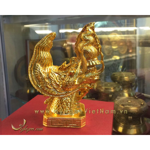 tượng đầu rồng thời lý mạ vàng cao 15cm