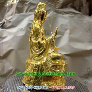 Tượng quan âm bồ tát bằng đồng 25cm mạ vàng ròng cao cấp