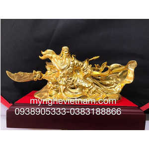 Tượng Quan công cầm kiếm cưỡi mây mạ vàng 24k