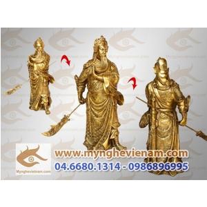 Tượng quan công cao 40cm bằng đồng vàng