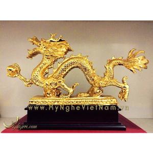 Tượng rồng cầm ngọc mạ vàng 24k dài 30cm