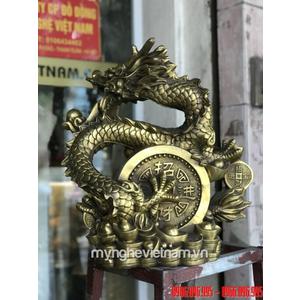 Tượng rồng nhả ngọc ôm tiền cao 42cm bằng đồng
