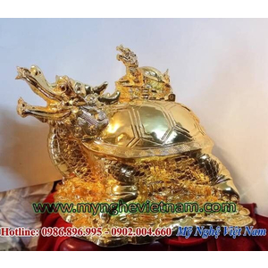 Tượng rùa đầu rồng mạ vàng phong thủy, long quy bằng đồng