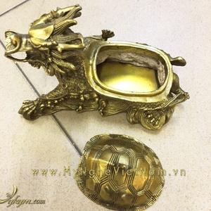 Tượng rùa đầu rồng mở nắp mai bằng đồng dài 15cm