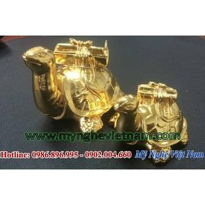 Tượng rùa phong thủy mạ vàng, rùa cõng sách bằng đồng
