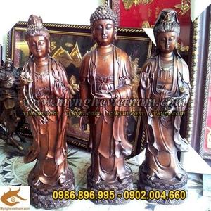 Tượng Tam thánh, Tam thế Phật, tượng phật bằng đồng 60cm