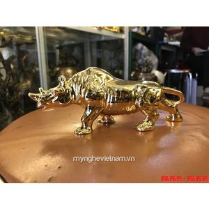 Tượng tê giác mạ vàng 24k dài 18cm đúc từ đồng