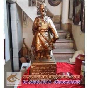 Tượng Trần Hưng Đạo 60cm khảm bạc tam khí