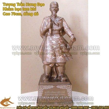 Tượng Trần Hưng Đạo khảm bạc cao 70cm