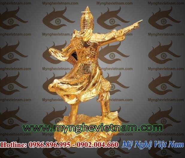 Tượng Trần Hưng Đạo mạ vàng cao 25cm, tượng đồng dát vàng