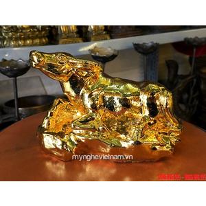 Tượng trâu đồng mạ vàng để bàn làm việc dài 16cm