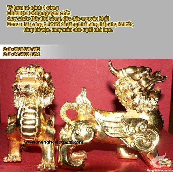 Tỳ hưu đồng đúc đặc mạ vàng ròng 9999 mạ vàng 24k