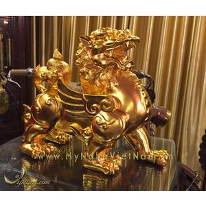 Tỳ hưu đúc đồng dát vàng 9999 cao 36cm