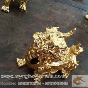 Tỳ hưu phong thủy mạ vàng cao 13cm