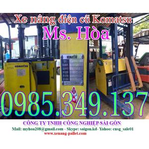 Xe nâng điện cũ đứng lái Komatsu 1500kg cao 4m