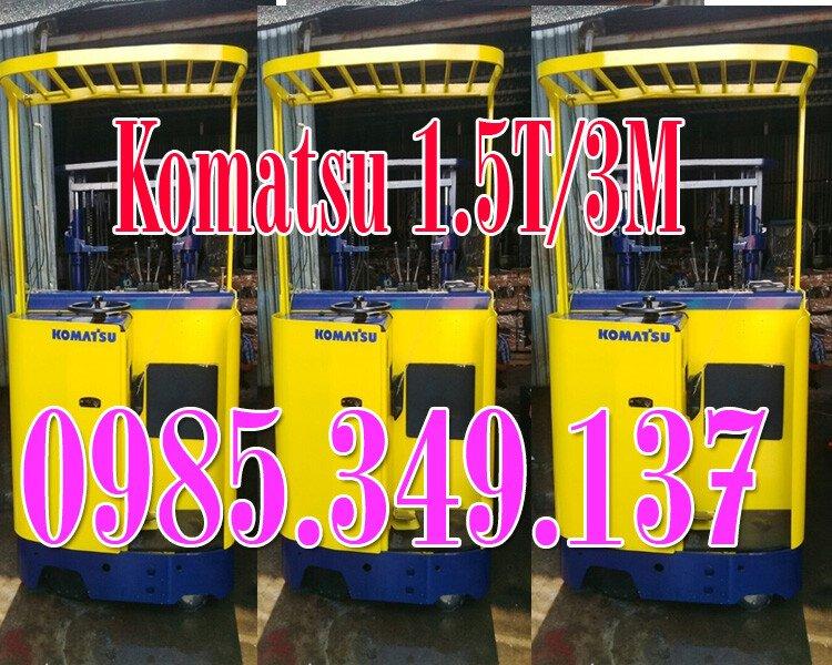 Xả bán Xe nâng điện cũ Komatsu 1.5 tấn cao 3m, xe nâng điện cũ đứng lái