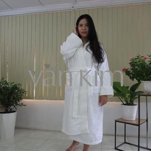 Áo Choàng Tắm Khách Sạn, Vải Tổ Ong Size L 700gram Trắng Kem