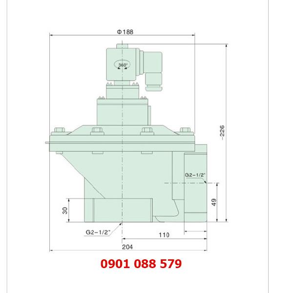 thông số kỹ thuật van giũ bụi XQD-Z-62S loại khớp nối ren