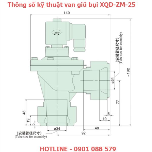 thông số kỹ thuật Van giũ bụi XQD-ZM-25 loại khớp nối nhanh