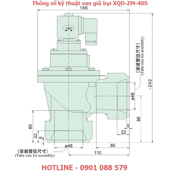 thông số kỹ thuật Van giũ bụi XQD-ZM-40S loại khớp nối nhanh