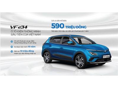 VinFast Thái Bình thông báo Mở bán dòng xe ô tô điện VFe34 giá chỉ 590 triệu đồng.
