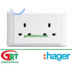 WGS213 | Hager WGS213 | Ổ cắm đôi | 13A single unswitched | Hager Vietnam
