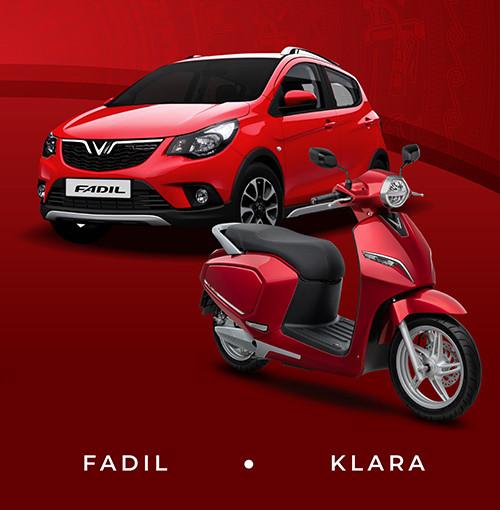 Hình ảnh quảng cáo của VinFast Fadil xuất hiện bên cạnh mẫu xe điện Klara.