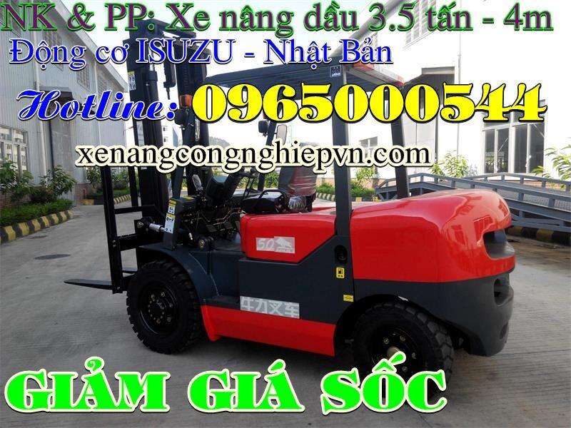 Xe nâng dầu 3.5 tấn 4m, xe nâng động cơ dầu giá tốt