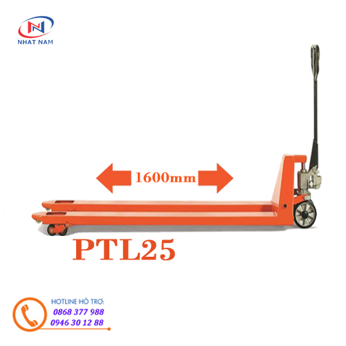 Xe nâng tay siêu dài PTL25 càng dài 1600mm, xe nâng siêu dài