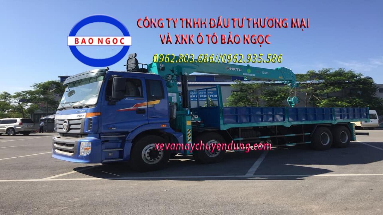 Xe tải 4 chân thaco auman gắn cẩu 12 tấn HKTC