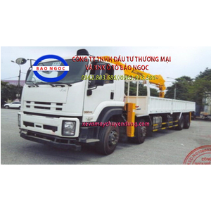 Xe tải isuzu 4 chân Vĩnh Phát FV300 gắn cẩu 12 tấn soosan