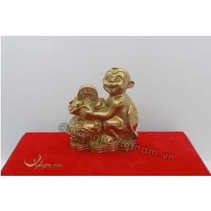 Khỉ ôm túi vàng bằng đồng vàng 10cm